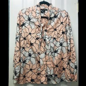 Banana Republic tie-neck floral blouse